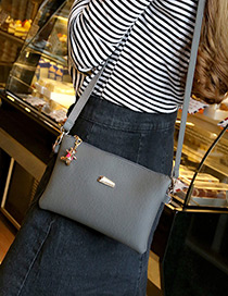 Fashion Gray Pure Color Decorated Square Shape Shoulder Bag