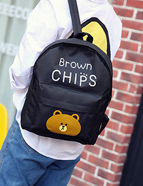 Fashion Black Cartoon Bear Pattern Decorated Color Matching Backpack
