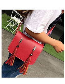 Fashion Red Long Tassel Decorated Pure Color Simple Shoulder Bag