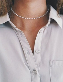 Fashion White Pearl Decorated Pure Color Simple Design Choker