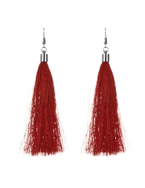 Fashion Red Long Tassel Decorated Pure Color Simple Earrings