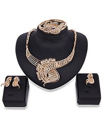 Fashion Gold Color Pure Color Decorated Pure Color Irregular Shape Jewelry Sets