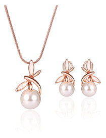 Fashion Rose Gold Dragonfly&pearl Pendant Decorated Color Matching Jewelry Sets