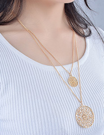 Elegant Gold Color Pure Color Decorated Hollow Out Double Layer Necklace