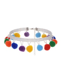 Lovely Multi-color Fuzzy Ball Pendant Decorated Simple Color-matching Choker
