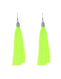 Bohemia Fluorescent Green Pure Color Decorated Simple Tassel Earrings