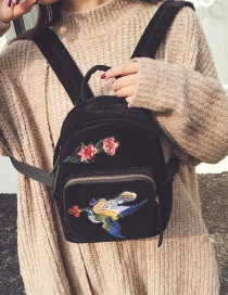 Trendy Black Embroidery Flower&bird Decorated Pure Color Backpack