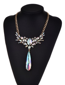 Fashion Multi-color Diamond Decorated Water Drop Shape Color Matching Necklace