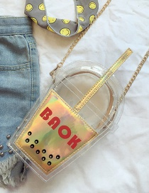 Fashion Yellow Color Matching Decorated Cup Shape Transparent Shoulder Bag