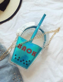 Fashion Blue Color Matching Decorated Cup Shape Transparent Shoulder Bag