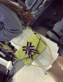 Fashion Yellow Bowknot&rivet Decorated Pure Color Simple Shoulder Bag