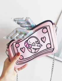 Fashion Pink Wing Decorated Dolls Pattern Simple Design Shoulder Bag