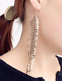 Exaggerated Gold Color Paillette Decorated Long Tassel Design Pure Color Earrings