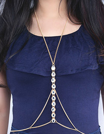 Exaggerated Gold Color Water Drop Shape Gemstone Decorated Simple Body Chain
