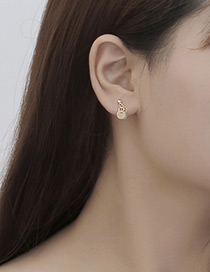 Fashion Gold Color Round Shape Decorated Pure Color Simple Earrings