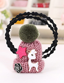 Fashion Dark Pink Hat Shape Decorated Simple Double Layer Baby Hair Band