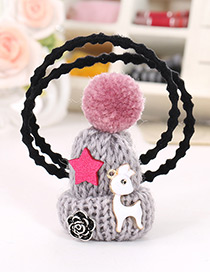 Fashion Light Gray Hat Shape Decorated Simple Double Layer Baby Hair Band