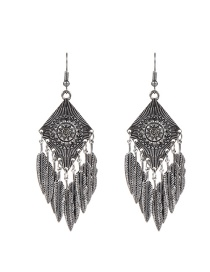 Trendy Silver Color Leaf Shape Decorated Pure Color Simple Earrings