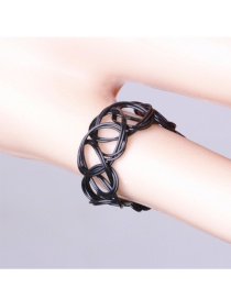 Fashion Black Pure Color Decorated Hollow Out Simple Ring