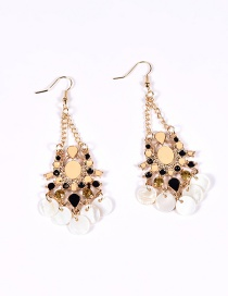 Fashion Multi-color Diamond Decorated Color Matching Simple Earrings