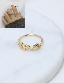 Elegant Gold Color Letter Love Decorated Pure Color Simple Ring