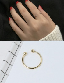 Elegant Gold Color Round Balls Decorated Pure Color Opening Ring