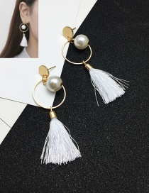 Elegant White Tassel&pearls Decorated Color Matching Earrings