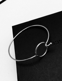 Elegant Silver Color Circular Ring Decorated Pure Color Simple Braclet