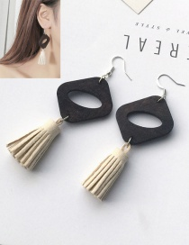 Elegant Beige Tassel Pendant Decorated Color Matching Earrings