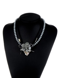 Fashion Gray Flower Shape Decorated Multi-layer Design Simple Necklace