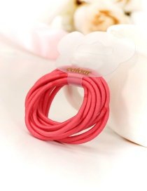 Fashion Red Circular Ring Decorated Pure Color Simple Design Hair Band(10pc)