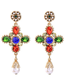 Fashion Multi-color Pearl&diamond Decorated Color Matching Simple Earrings