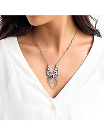Trendy Gold Color Diamond Decorated Mutli-layer Design Simple Necklace
