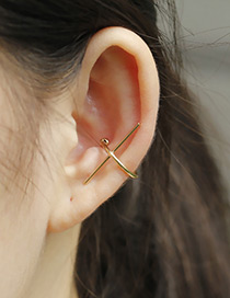 Elegant Gold Color Geometry Decorated Pure Colro Simple Earrings (1pcs)