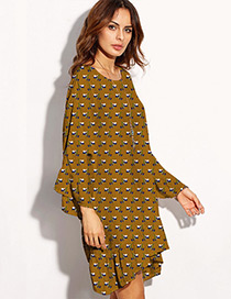 Fashion Yellow Flower Pattern Decorated Long Sleeve Design Simple Dress