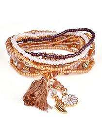 Fashion Brown Tassel&flower&leaf Decorated Multi-layer Design Simple Bracelet