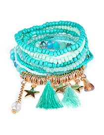 Fashion Lake Blue Tassel&star Decorated Multi-layer Design Simple Bracelet