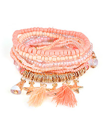 Fashion Orange Tassel&star Decorated Multi-layer Design Simple Bracelet