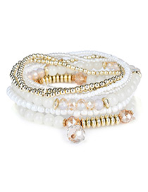 Fashion White Diamond&bead Decorated Multi-layer Design Simple Bracelet