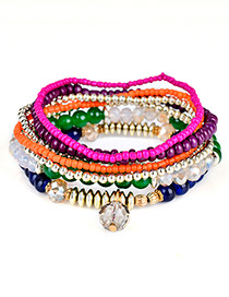 Fashion Multi-color Diamond&bead Decorated Multi-layer Design Simple Bracelet
