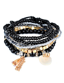 Fashion Black Diamond&bead Decorated Multi-layer Design Simple Bracelet