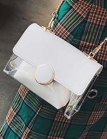Trendy White Circular Ring Decorated Pure Color Simple Shoulder Bag