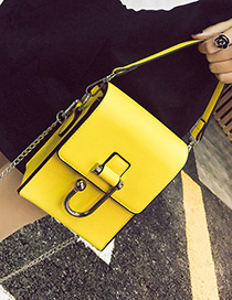 Elegant Yellow Rectangle Shape Decorated Pure Color Shoulder Bag