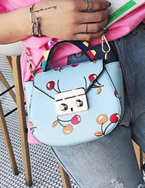 Fashion Blue Cherry Pattern Decorated Color Matching Simple Shoudle Bag