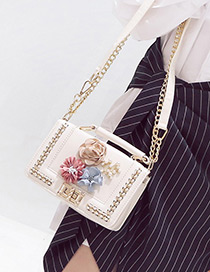 Fashion White Flower Decorated Color Matching Simple Design Shoulder Bag