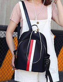 Fashion Black Lock&rivet Decorated Color Matching Simple Design Backpack