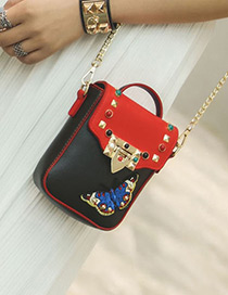 Fashion Black Butterfly Decorated Color Matching Simple Design Should Bag