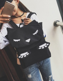 Fashion Black Cat Shape Decorated Pure Color Simple Design Backpack