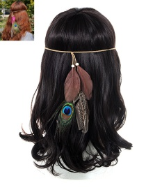 Fashion Brown Feather Decorated Color Matching Simple Headband