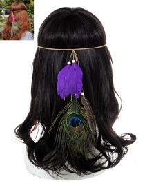 Fashion Purple Feather Decorated Color Matching Simple Headband
